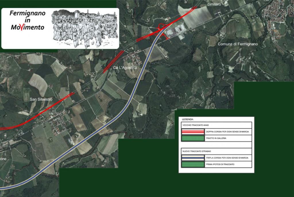 Ricostruzione del tracciato della Fano - Grosseto nelle sue varianti sulla Piana di Asdrubale.