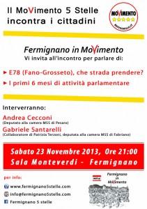 Volantino evento M5S Fermignano