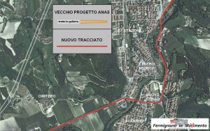 Particolare del tracciato nella zona centrale di Fermignano